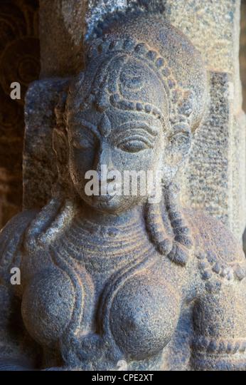 Statue detail, Padmanabhapuram palace, Kerala, India, Asia - Stock Image
