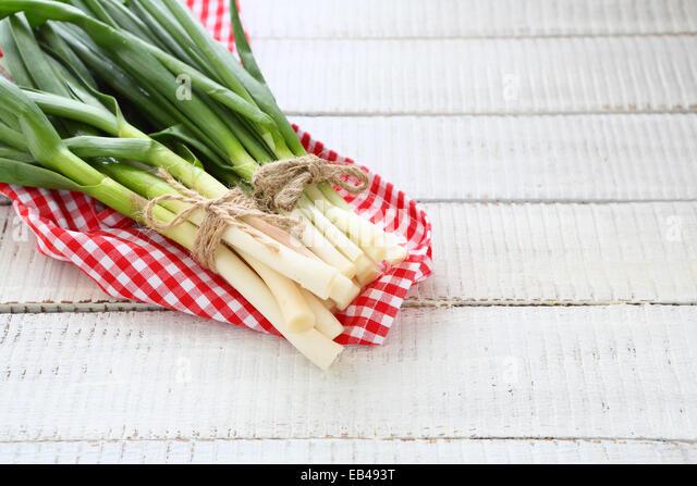 Fresh onions and garlic on a napkin - Stock Image