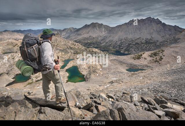 USA, California, Kings Canyon National Park, Hiker Atop Glen Pass - Stock Image