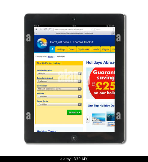 Booking a holiday on the Thomas Cook holidays website, UK - Stock Image