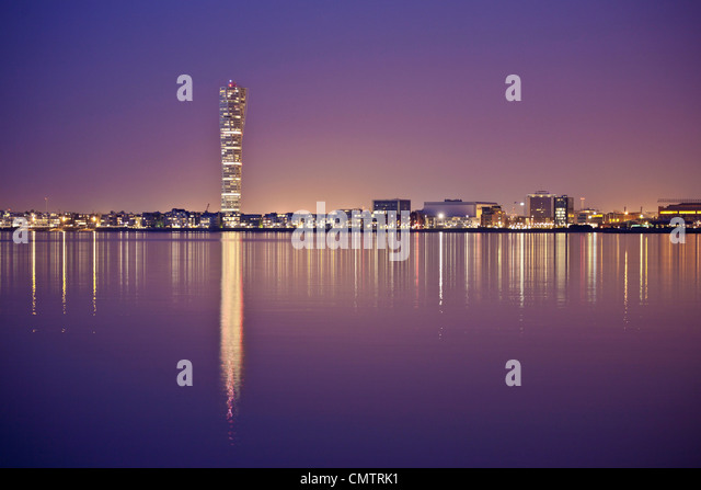 Beautiful view of city with waterfront - Stock Image
