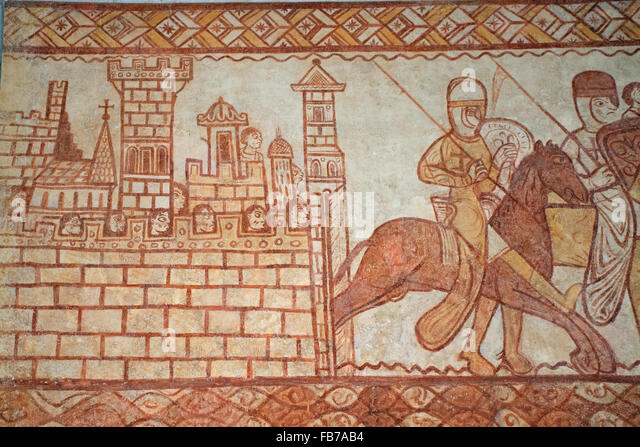 Knights shown on the wall of Cressac Templar chapel - Stock Image