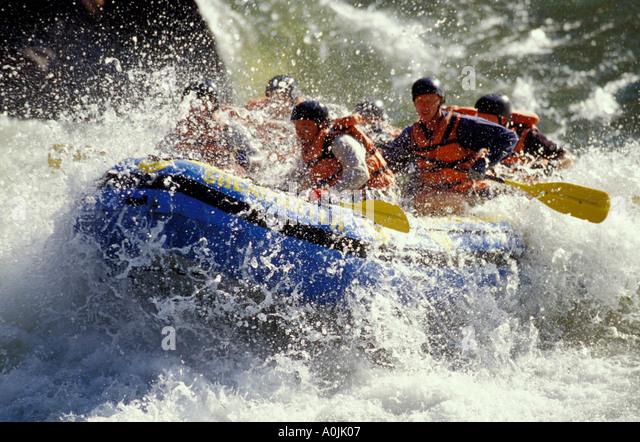 AFRICA Zimbabwe Zambia Zambezi River Rafting Group Paddling through Thrilling Whitewater Rapids - Stock Image