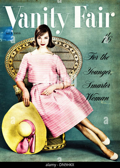 1950s VANITY FAIR cover vintage original women's fashion magazine dated July 1959 - Stock-Bilder