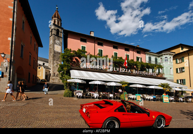Switzerland Ticino Ascona Promenade Albergo Elvezia Ferrari - Stock Image
