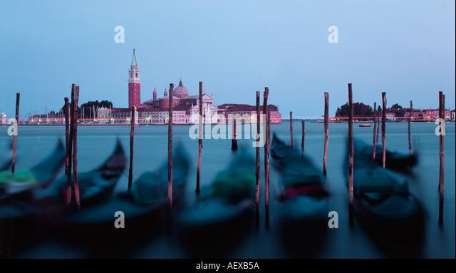 Italy Venice Riva degli Schiavoni Canale Grande Riva degli Schiavoni Gondola pier San Giorgio Maggiore - Stock Image