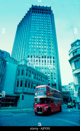 UK London stock exchange double decker bus - Stock Image