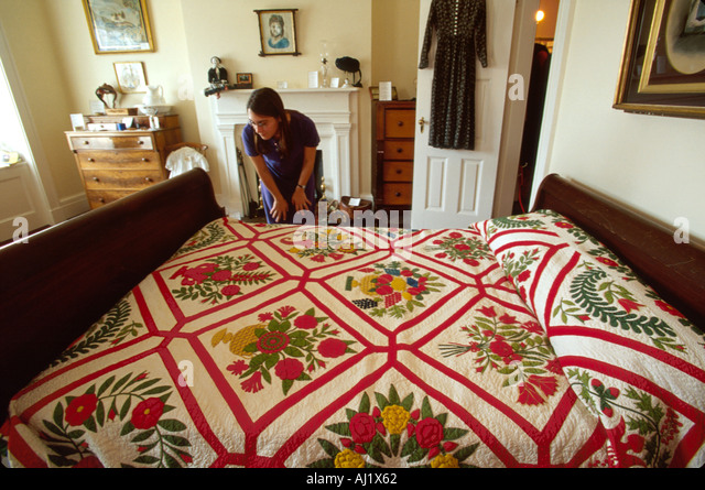 Ohio Sandusky Follett House Museum Baltimore Album quilt visitor - Stock Image
