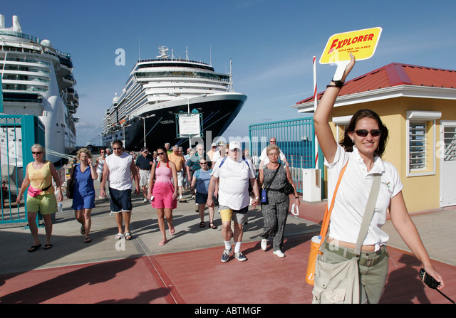 Sint Maarten Great Bay Philipsburg Dutch tour guide cruise ship excursion - Stock Image