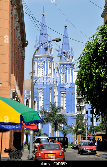 blue church Parroquia de los Sagrados historic center Lima Peru South America - Stock Image