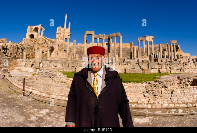 Historical 2nd Century Roman Theater ruins in Dougga in Tunisia Northern Africa, most preserved in Africa in 168 - Stock Image
