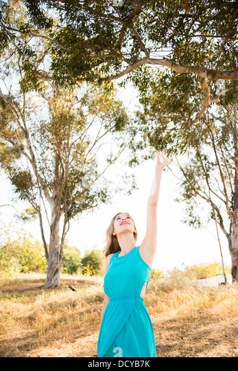 Young Woman in Meadow Reaching to the Trees - Stock Image