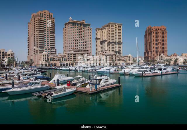 Marina, The Pearl, Doha, Qatar, United Arab Emirates - Stock Image