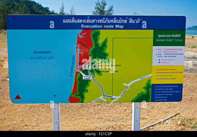 Weather, Climate, Tsunami evacuation route sign, Thailand. - Stock Image