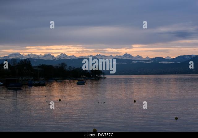 Sunset over Zurich, Switzerland -1 - Stock Image