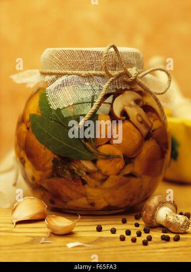 bottled mushrooms - Stock Image