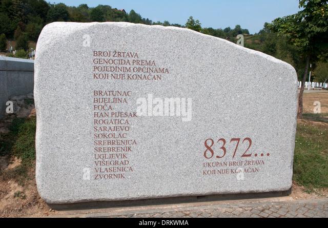 Big stone at Srebrenica-Potočari Memorial and Cemetery for the Victims of  the 1995 Genocide