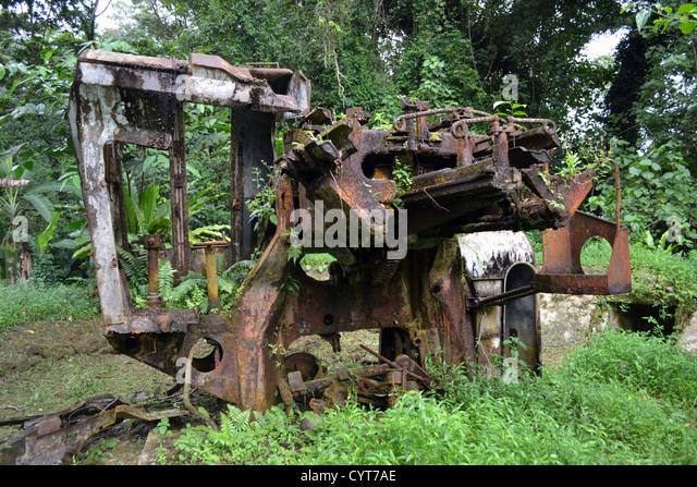 World War II Japanese wreckage, Sokehs Ridge, Pohnpei, Federated States of Micronesia - Stock Image