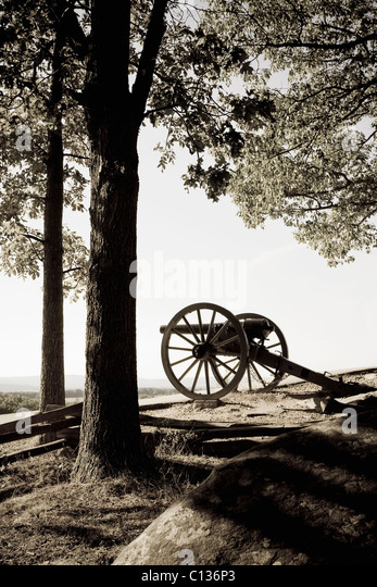 USA, Pennsylvania, Gettysburg, Little Round Top, historical canon from American Civil War - Stock Image