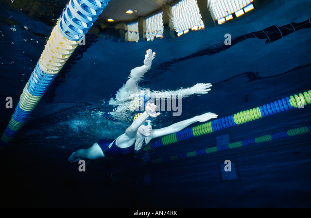 A Female Swimmer Practices At Mount Lebanon High School, Pittsburgh, Pennsylvania, Usa., - Stock Image