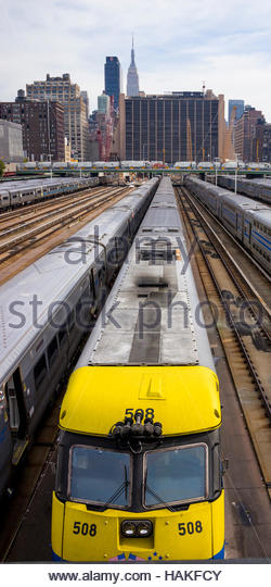 Overview of Trains and Tracks in New York City, New York, USA - Stock Image