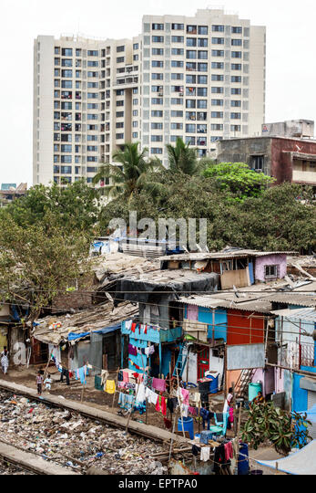 Mumbai India Asian Dharavi Shahu Nagar slum shanties high population density poverty residents low income poor high - Stock Image