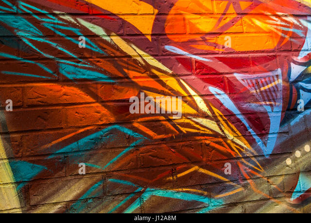 Graffiti, colorful urban design in Toronto, Canada - Stock Image