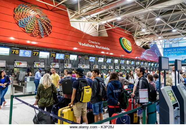 Lisbon Portugal Humberto Delgado Airport LIS Portela Airport terminal TAP Air Portugal airline carrier ticket counter - Stock Image