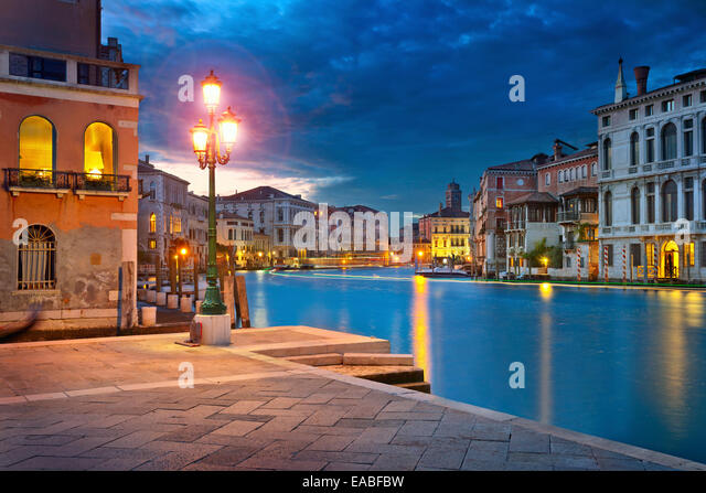 Venice.  Image of Grand Canal in Venice, Italy during twilight blue hour. - Stock Image