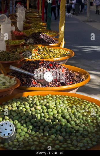 Olives. Food market. Inca. Mallorca Island. Spain - Stock Image