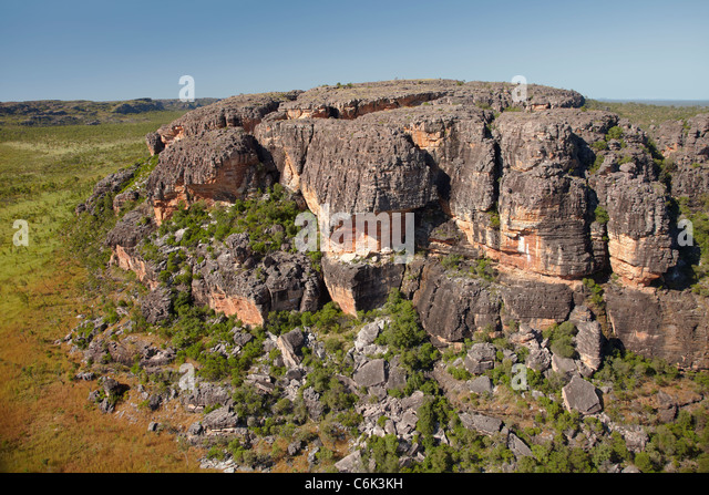 Rock outcrops near Ubirr, Kakadu National Park, Northern Territory, Australia - aerial - Stock Image