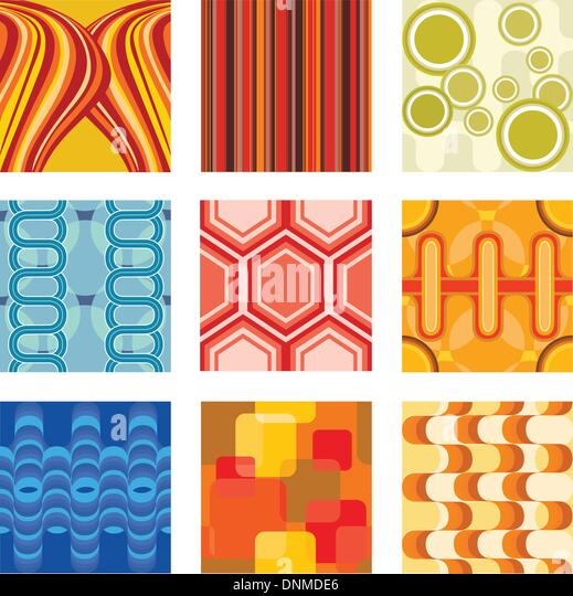 A vector illustration of a set of retro wallpaper - Stock Image