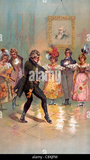 Olden times -aristocrat dancing circa 1888 - Stock Image