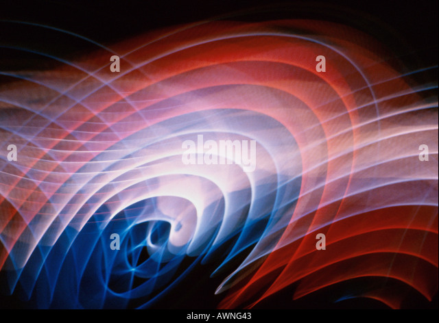 Light effect, geometric, reds, blues and white. - Stock Image