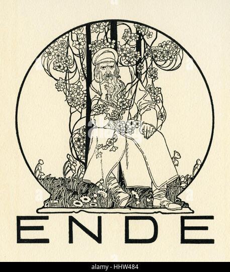 Ephraim Moses Lilien illustration shows the final illustration 'Ende'.  b. 1874 (Galicia) – d.1925 (Germany). - Stock Image