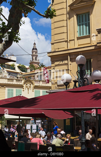 Cafe in Menton Cote d'Azure France - Stock Image