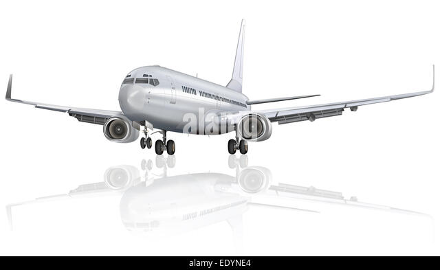 Passenger aircraft with reflection on the ground, illustration - Stock Image