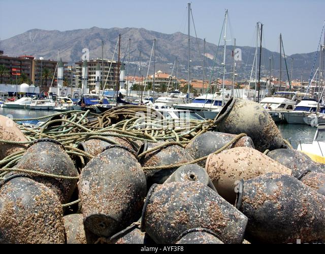 Pile of Spanish octopus fishing pots, Fuengirola, Costa del Sol, Spain, - Stock Image