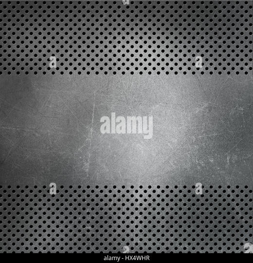 Perforated metallic background with scratches and stains - Stock Image