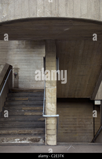 Brutalist Stairwell Detail, National Theatre, London, Southbank, UK - Stock Image