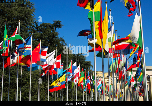 Flags from all countries around the world, Court of flag, United Nations, UNO, Palais des Nations, Geneva, Switzerland - Stock-Bilder
