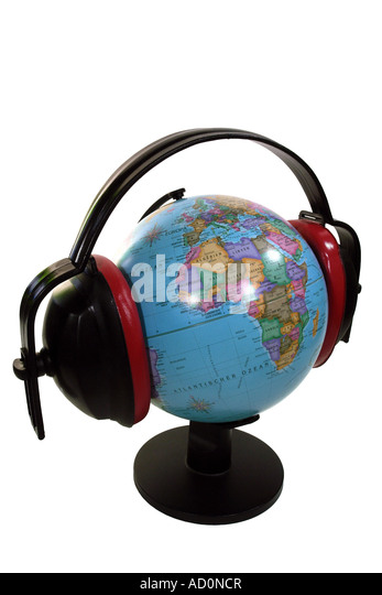 earth with hearing protection as symbol for the noise pollution - Stock Image