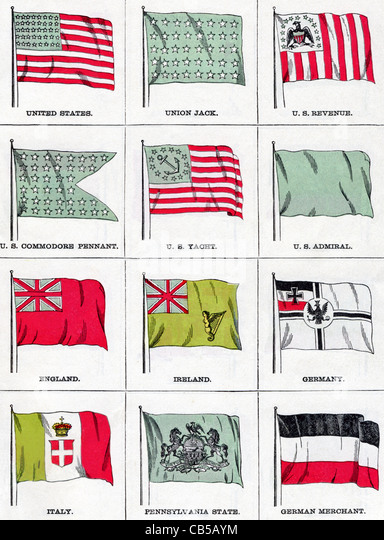 The flags shown in this illustration were current in 1896. They include United States, England, Ireland, Germany, - Stock-Bilder