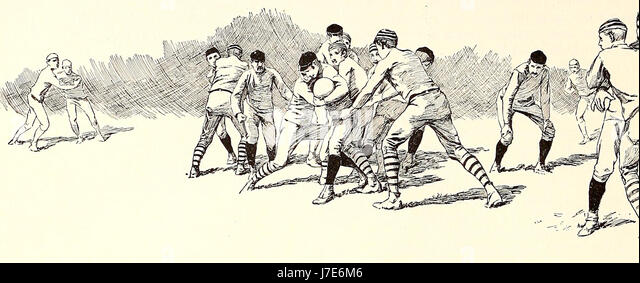 Breaking through the Rush line - American Football, circa 1887 - Stock Image