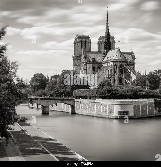 Black & White Notre Dame de Paris Cathedral on Ile de La Cite with the Seine River and Archbishop's Bridge, - Stock Image