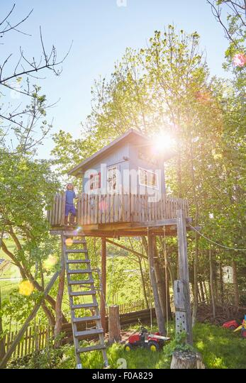 Young boy in tree house - Stock Image