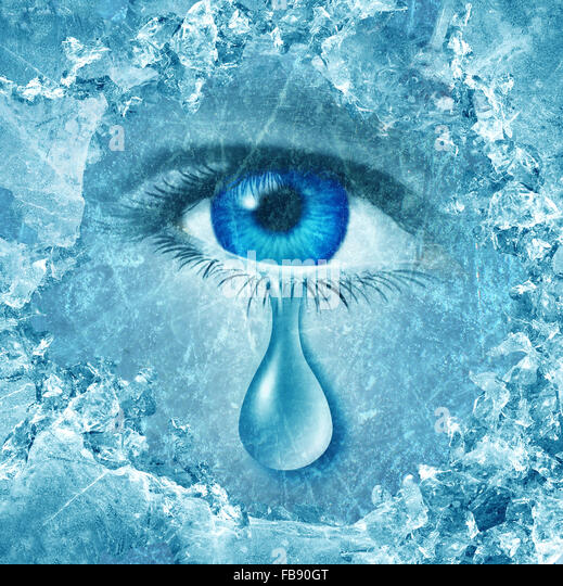 Winter blues seasonal affective disorder or depression and cold grey season lonesome anxiety and emotional crisis - Stock Image