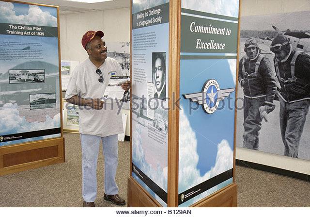 Alabama Tuskegee Black History Moton Airfield Tuskegee Airmen National Historic Site Black man museum history board - Stock Image