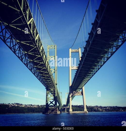 Tacoma Narrows Bridges, Puget Sound, Tacoma, Washington - Stock Image