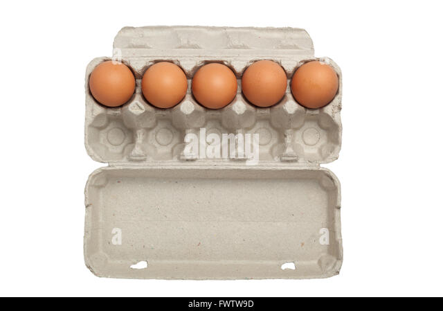 Egg carton half full or half empty of eggs isolated on white background - Stock Image